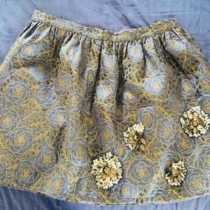 ZARA beaded gold and navy mini skirt size S